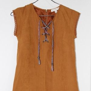 Love Fire  Camel Faux Suede Mini Dress